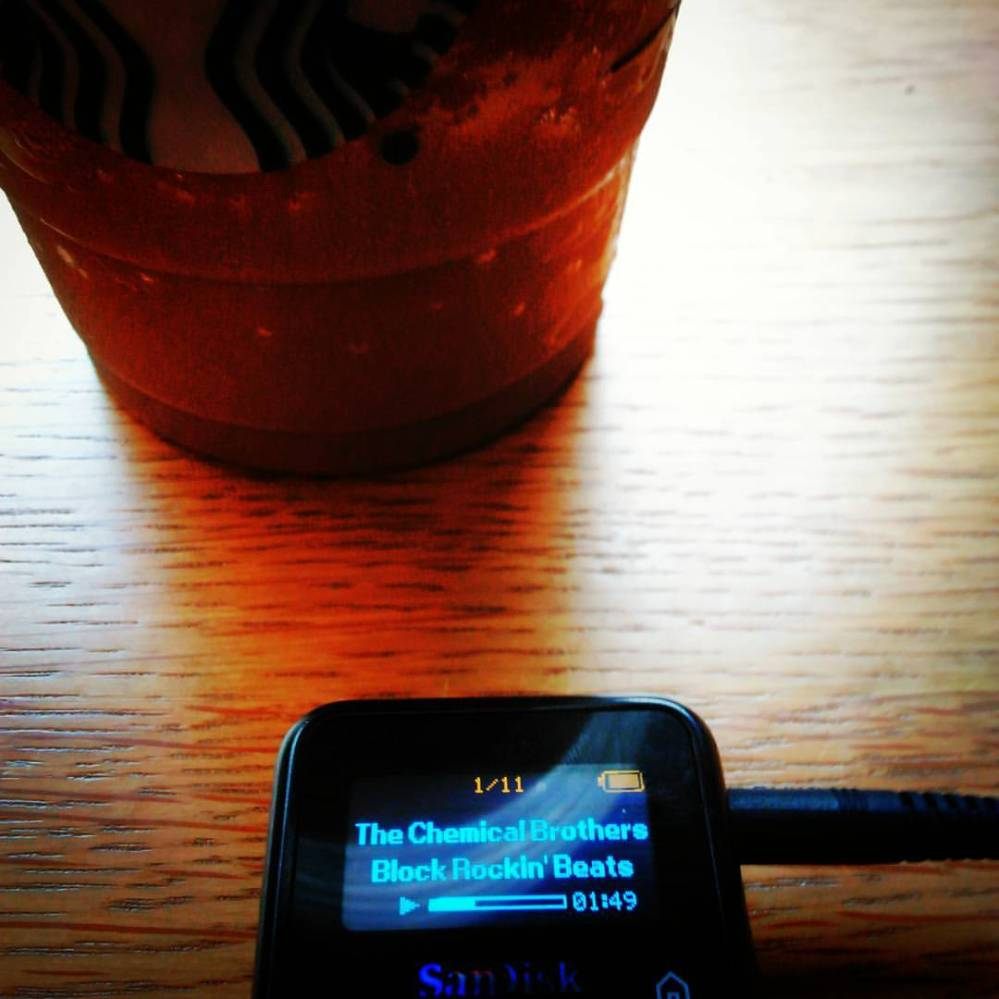 coffee and mp3 player